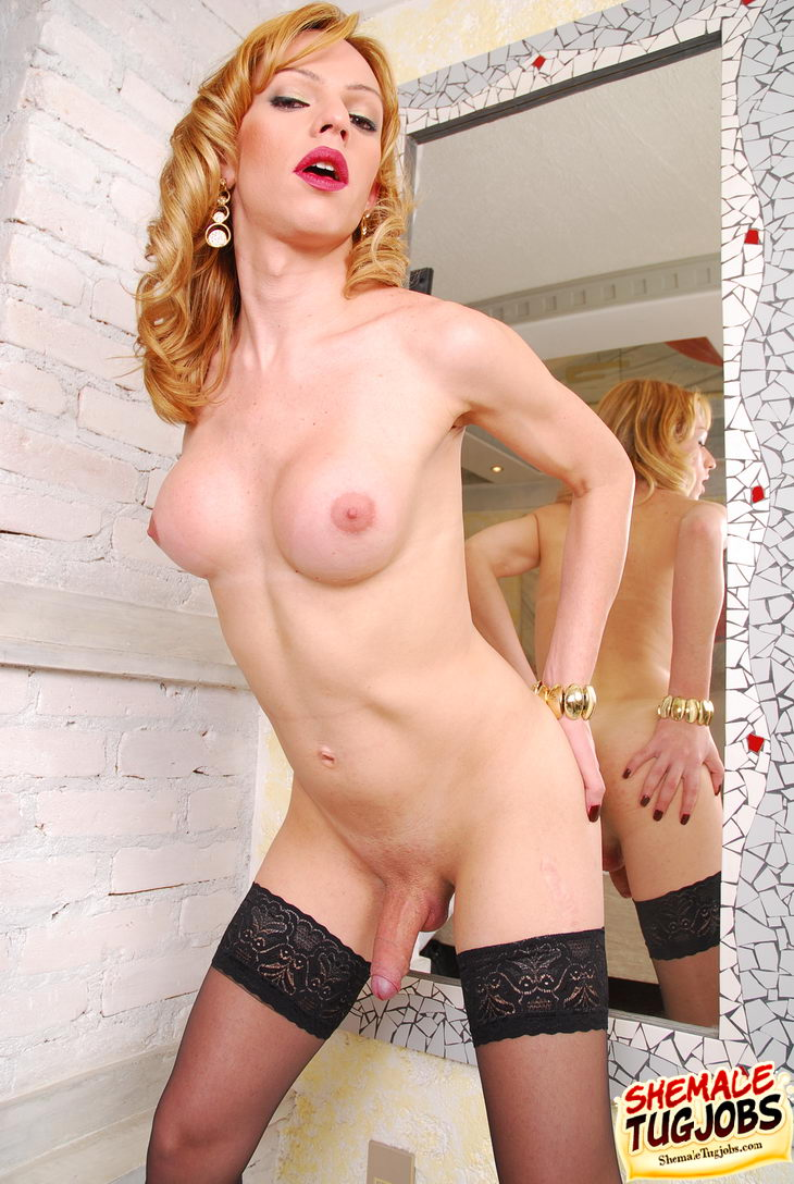 Cute blonde tranny
