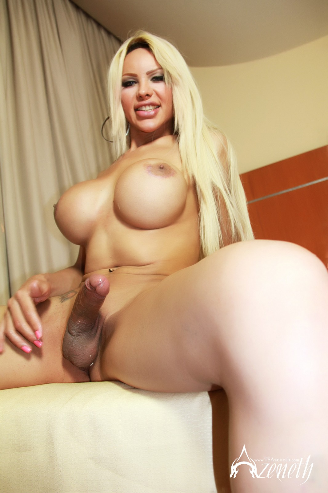 Big busty blonde tranny