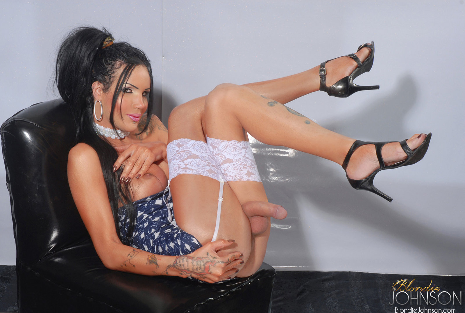 sugar shemale with a long erect shecock in lingerie and
